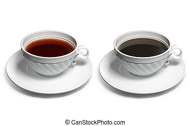 A cup of tea and a cup of coffee - 3d image of a cup of tea...