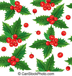 Seamless pattern of holly berries. Contains transparent...