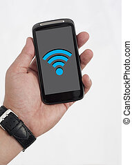 Wifi on Smart Phone - Wireless Symbol on the Mobile Phone