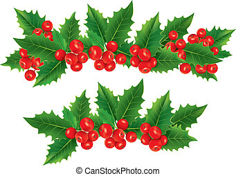 Christmas garland of holly berries. Contains transparent...
