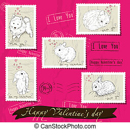 Set of postage stamps about love.