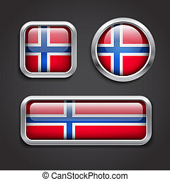 Norway  flag glass buttons