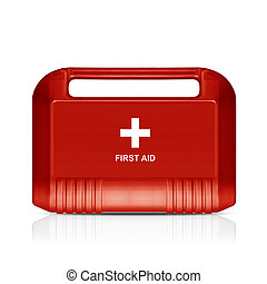Red first aid kit - Three dimentional image of red first aid...