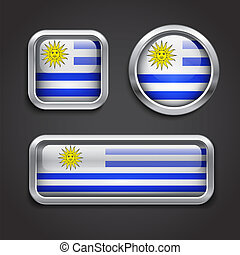 Uruguay  flag glass buttons