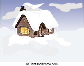 Snow Cabin - Illustrationing of a remote cabin in the winter...