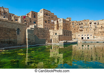 Water cistern at Hababah traditional village, Yemen