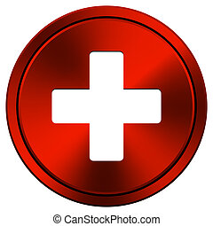 Medical cross icon - Metallic icon with white design on red...