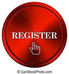 Register icon - Metallic icon with white design on red...