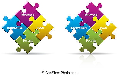 Business Innovation Puzzle Pieces - Colored business...