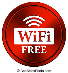 WIFI free icon - Metallic icon with white design on red...