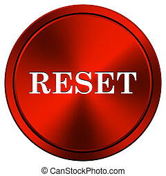 Reset icon - Metallic icon with white design on red...