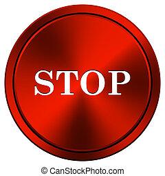 Stop icon - Metallic icon with white design on red...