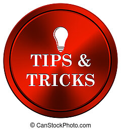 Tips and tricks icon - Metallic icon with white design on...