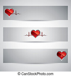 Medical banners - Three beautiful heart beats vector...