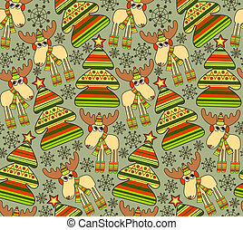 Christmas seamless background with funny elks