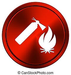 Fire icon - Metallic icon with white design on red...