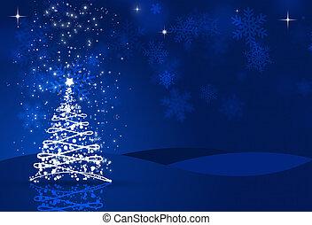 Christmas Night - blue xmas night eve with a tree, snow,...