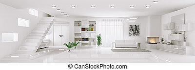 White apartment panorama interior 3d render - Interior of...