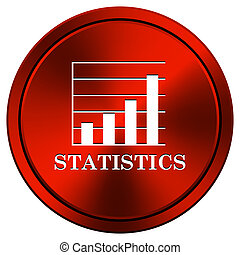 Statistics icon - Metallic icon with white design on red...
