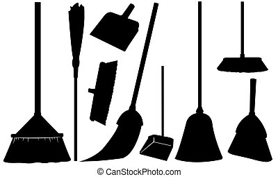 brooms - set of different brooms isolated