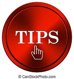 Tips icon - Metallic icon with white design on red...