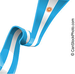 argentina ribbon flag on white background