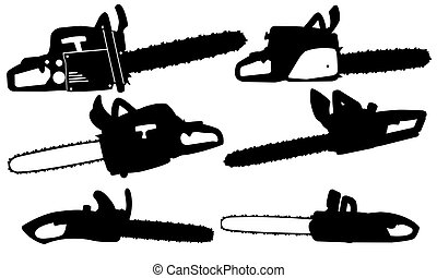 chainsaw - set of different chainsaws isolated