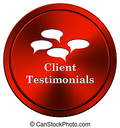Client testimonials icon - Metallic icon with white design...