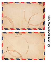 Vintage, Coffee-Stained Airmail Envelope - The front and...