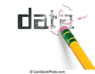 Erasing Data - Close up of a yellow pencil erasing the word,...