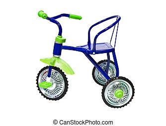 azul, triciclo