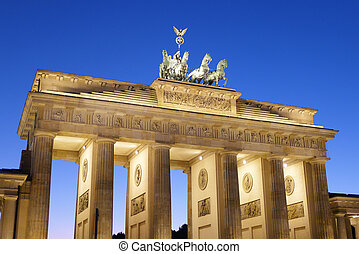 Berlin Brandenburg Gate At Dusk - Frontal view of...
