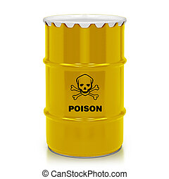 Plastic gallon - Golden barrel with poison sign isolated on...