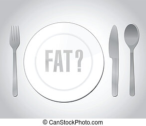 fat question over a food layout concept illustration design...