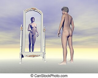 Male wishing of being female - 3D render - Male looking at...