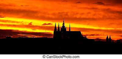 Prague castle - The silhoulette of the Prague castle at...