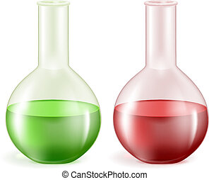 Laboratory glassware with green and red liquids Vector...