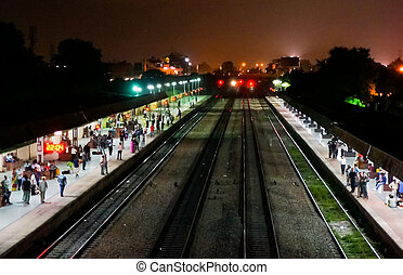 Indian railway station at night - Indian railway station...