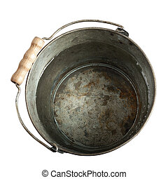 rusty bucket of water with clipping path on white background