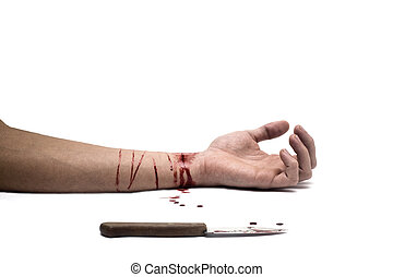 Bloody Knife - A bloody knife and a cut wrist, isolated on...