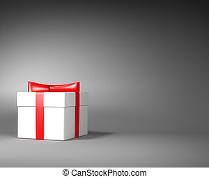 White Gift Box with Red Ribbon and