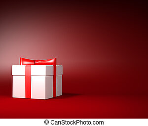 White Gift Box with Red Ribbon and Bow on the Red Background