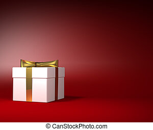 White Gift Box with Gold Ribbon and Bow on the Red Background