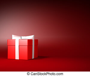 Red Gift Box with White Ribbon and Bow on the Red Background