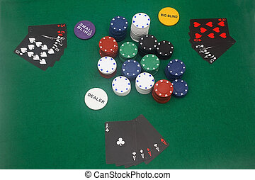 Poker Game - A game of poker on the basic green cloth.