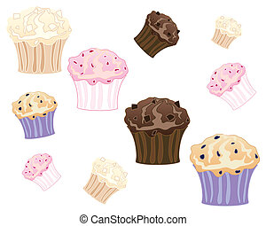 muffins - an illustration of freshly baked muffins in white...
