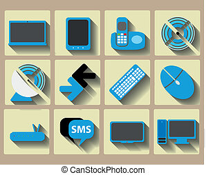 Icons home tech and wireless set