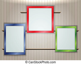 gallery on wall - Empty colorful frames