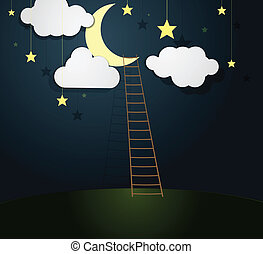 Moon Illustration with Ladder. Vector illustration.