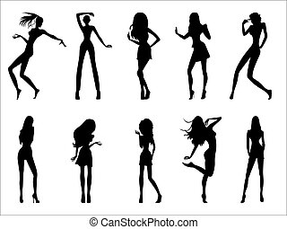 Fashionable model silhouettes - Set of eight black...